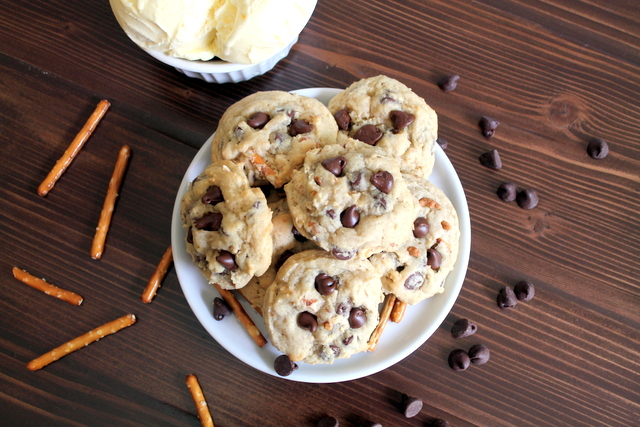 Pretzel and Ice Cream Chocolate Chip Cookies