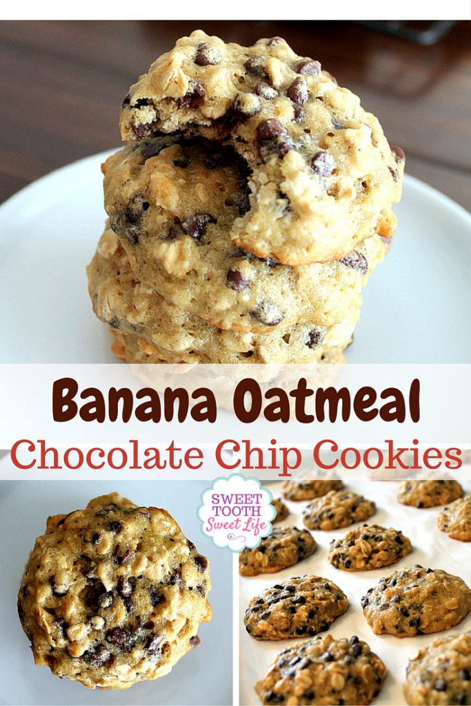 Banana Oatmeal Chocolate Chip Cookies - Sweet Tooth Sweet Life