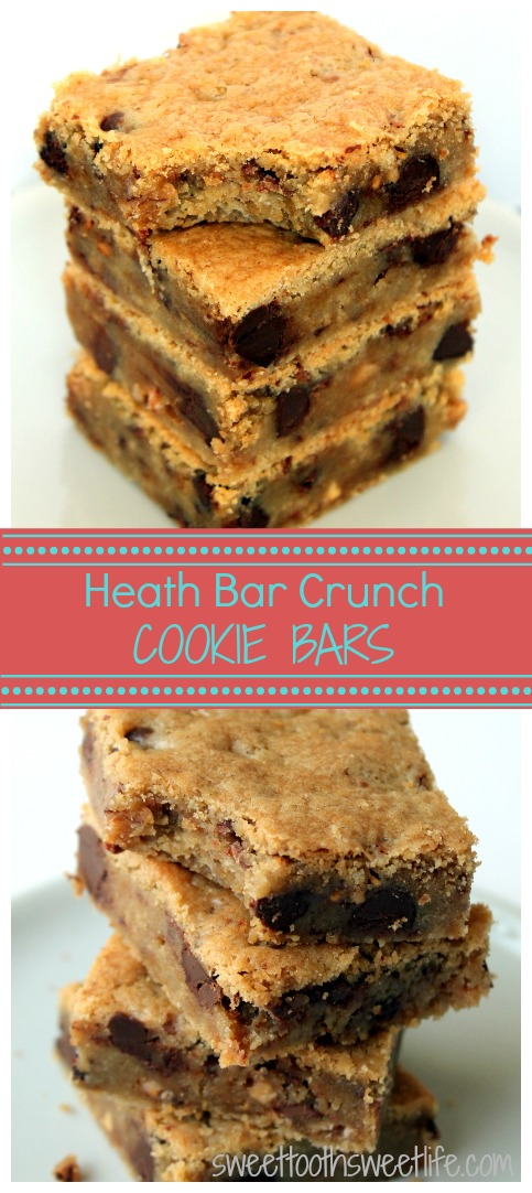 Heath Bar Crunch Cookie Bars are buttery and gooey with the added sweet crunch of Heath bits. They're a MUST make!