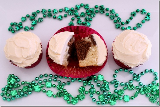 Marbled Irish Cream Cupcakes with Irish Cream Frosting