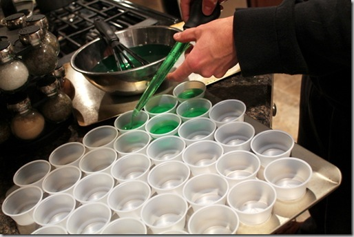 green Jell-o shots for St. Patrick's Day