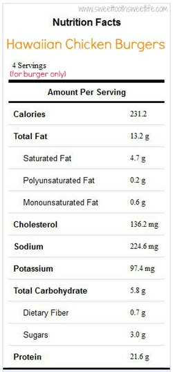Hawaiian Chicken Burger Nutrition Info