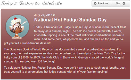 national hot fudge sundae day