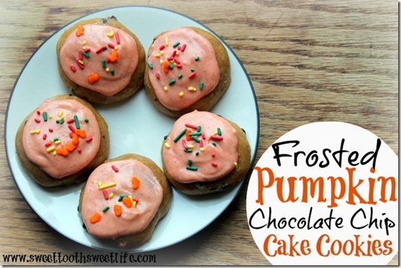 frosted pumpkin chocolate chip cake cookies