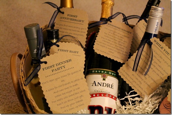 Wine Gifts For Wedding: Bridal Shower Wine Basket Gift Idea With Poems