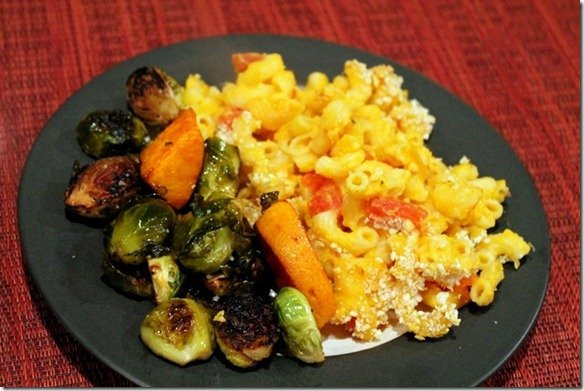 butternut squash mac and cheese and brussels sprouts