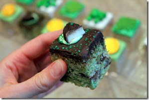 chocolate mint rice krispie treat