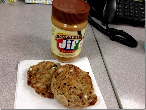 english muffin and peanut butter