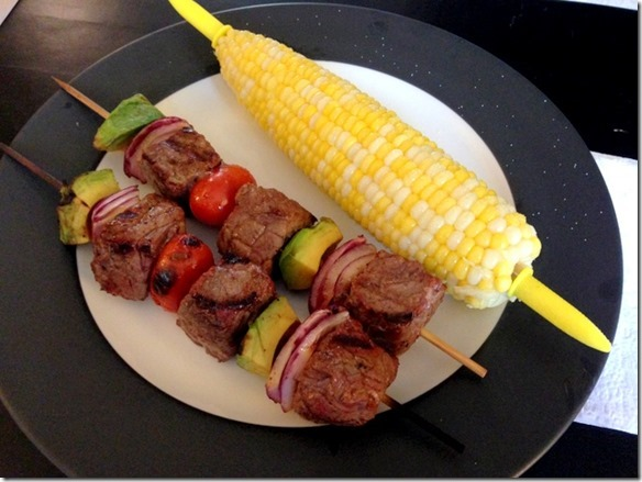 steak and avocado kabobs