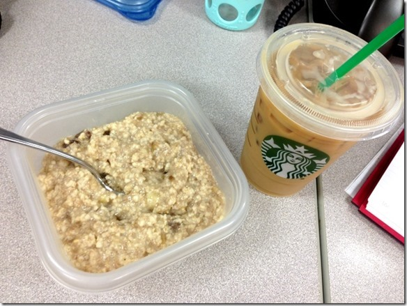 voluminous oats and starbucks iced coffee