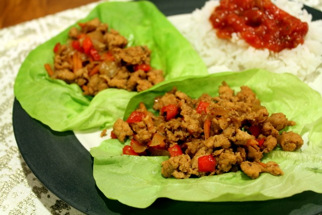 Monday : Stir-Fried Chicken in Lettuce Cups + jasmine rice with salsa