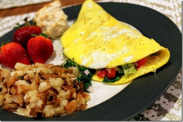 omelet and hash browns