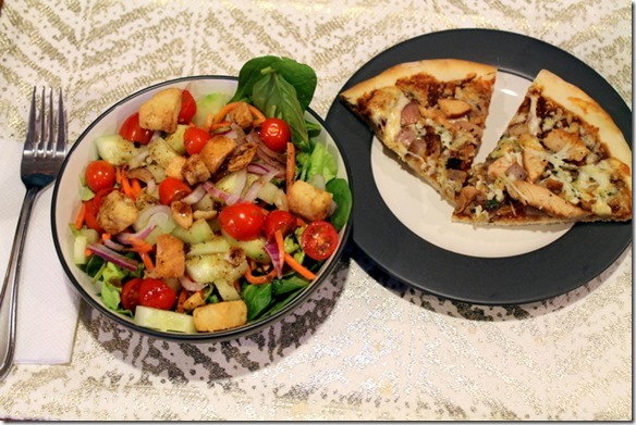 Trader Joe's BBQ Chicken Pizza + big side salads