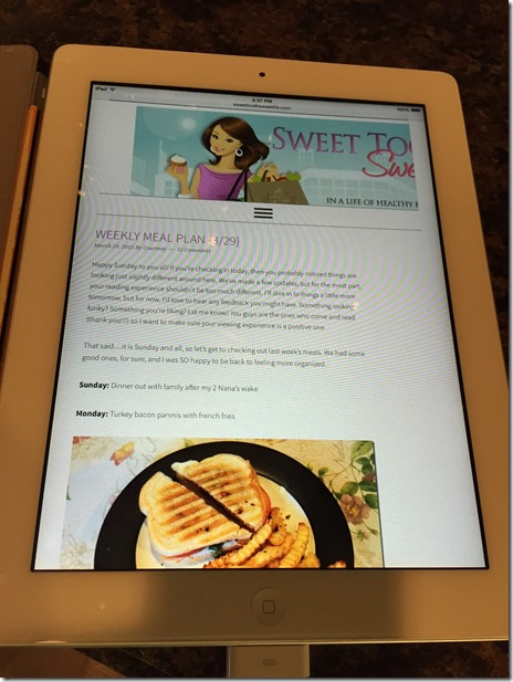 blog layout on tablet