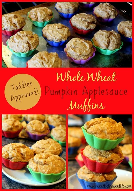 Whole Wheat Pumpkin Applesauce Muffins
