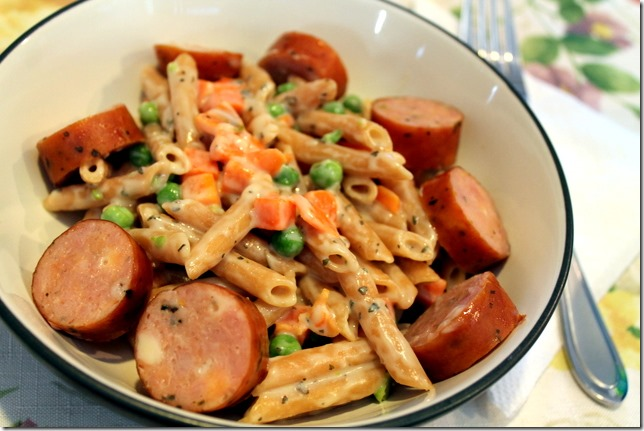 creamy pasta and chicken sausage