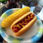 hot dog and corn on the cob