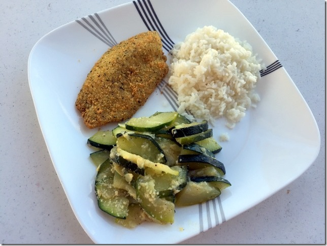Parmesan crusted tilapia with rice and sautéed zucchini with parmesan ...