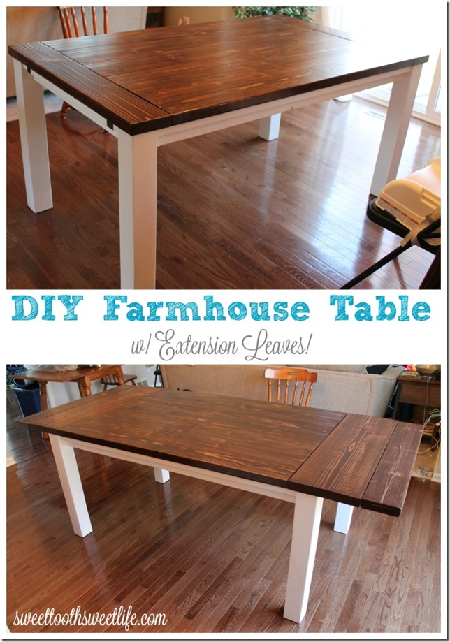 Diy farmhouse table with extension leaves with plans Diy farmhouse table