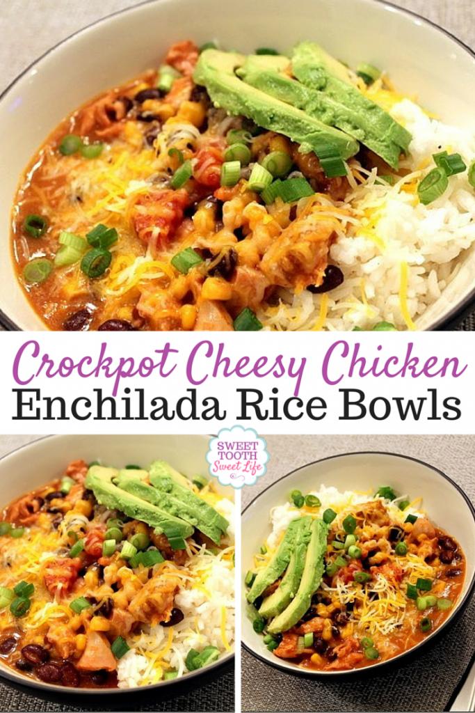 Crockpot Cheesy Chicken Enchilada Rice Bowls