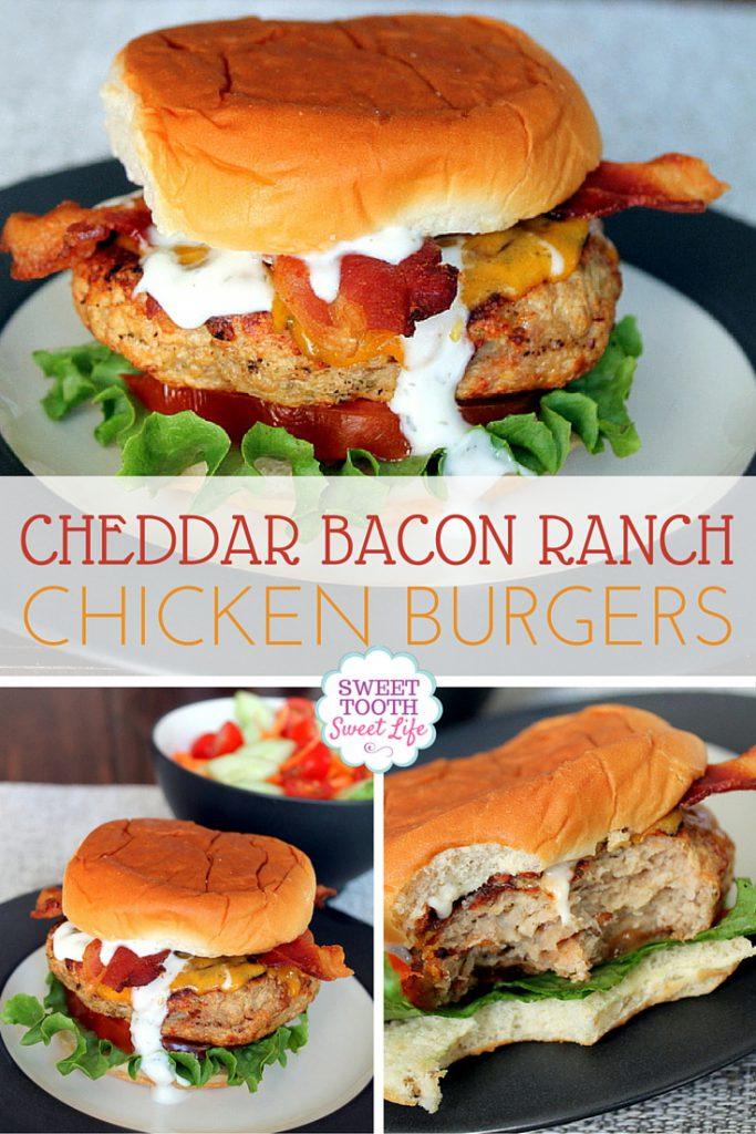 Cheddar Bacon Ranch Chicken Burgers