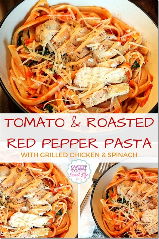 Tomato and Roasted Red Pepper Pasta with Grilled Chicken and Spinach