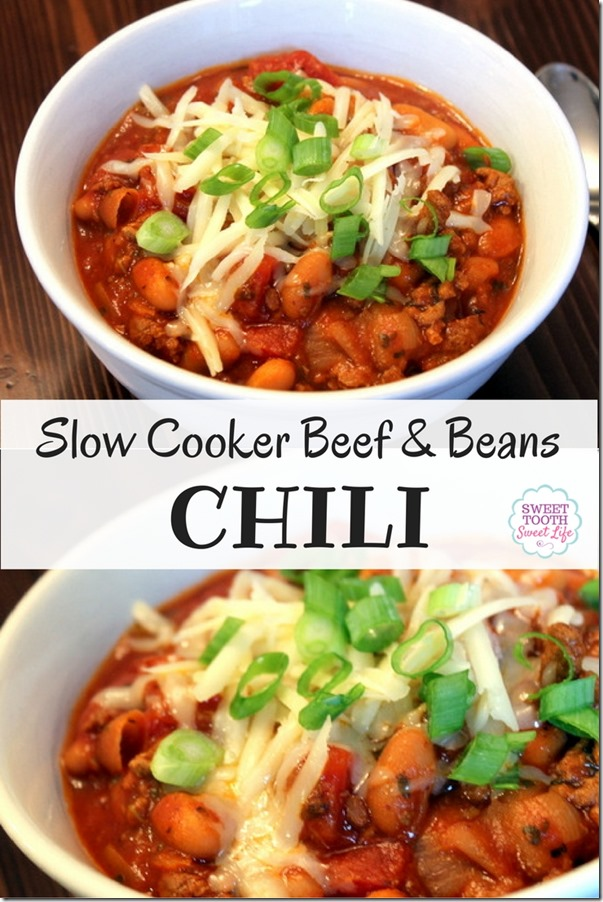 Slow Cooker Beef and Beans Chili Recipe - Great for Fall and Winter
