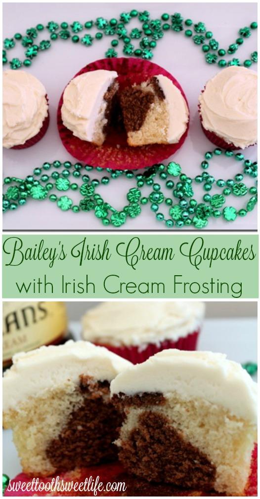 Irish Cream Cupcakes with Irish Cream Frosting