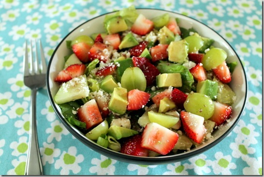 strawberry, feta, and avocado salad
