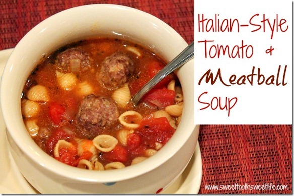 italian-style tomato and meatball soup