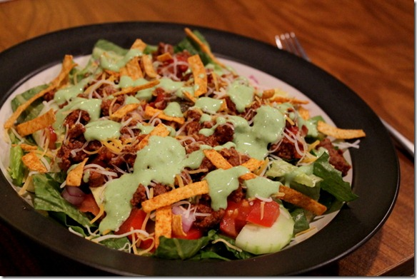 Healthy Taco Salads with Creamy Cilantro Lime Dressing