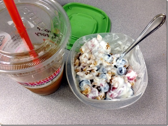 yogurt bowl and iced coffee