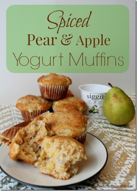 spiced pear and apple yogurt muffins