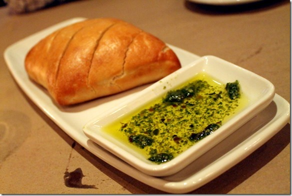 bread and pesto dipping oil