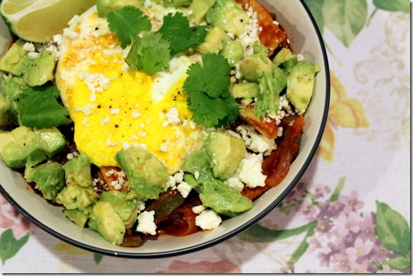 Roasted Poblano Chilaquiles with Sunny Side-Up Eggs and Avocado
