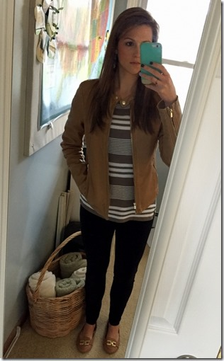 camel leather jacket outfit