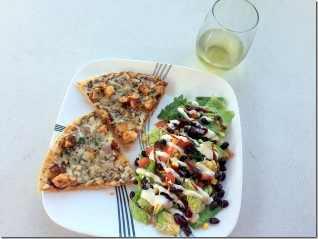 bbq chopped salad and pizza