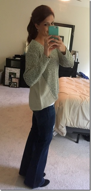 RD Style Analisa Twisted Seam Mixed Knit Sweater