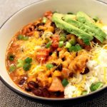 Crockpot Cheesy Chicken Enchilada Rice Bowls