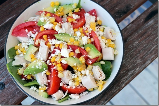 Tomato, Corn, Avocado, and Feta Salad