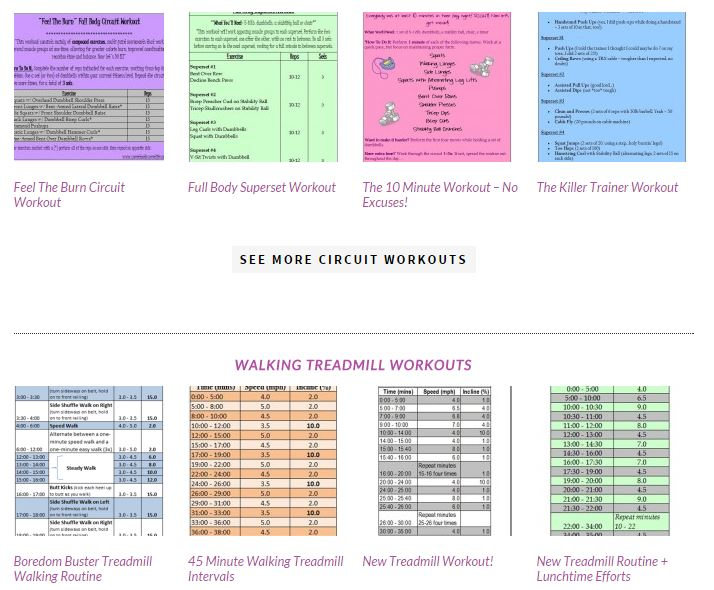 workouts page